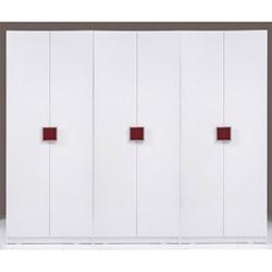 Kenyap Plus Stella 6 Kapılı 3 Çekmeceli Sonsuz Gardırop - Parlak Beyaz / Bordo