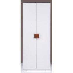 Kenyap Plus Stella 3 Çekmeceli 2 Kapılı Sonsuz Gardırop - Parlak Beyaz / Ceviz