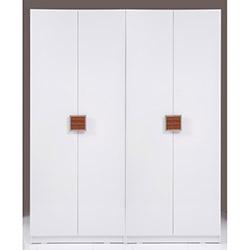 Kenyap Plus Stella 4 Kapılı 3 Çekmeceli Gardırop - Parlak Beyaz / Ceviz