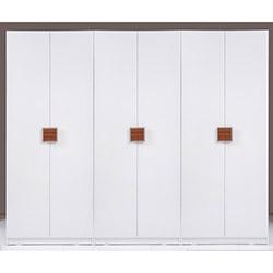 Kenyap Plus Stella 6 Kapılı 3 Çekmeceli Sonsuz Gardırop - Parlak Beyaz / Ceviz