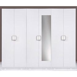 Kenyap Plus (814687) Stella Aynalı 6 Kapılı 3 Çekmeceli Sonsuz Gardırop - Beyaz