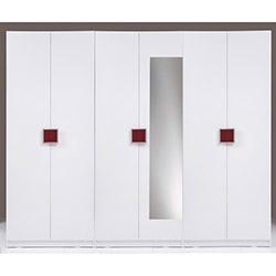 Kenyap Plus (814786) Stella Aynalı 6 Kapılı 3 Çekmeceli Sonsuz Gardırop - Beyaz / Bordo