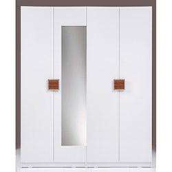 Kenyap Plus (814861) Stella Aynalı 4 Kapılı 3 Çekmeceli Sonsuz Gardırop - Beyaz / Ceviz