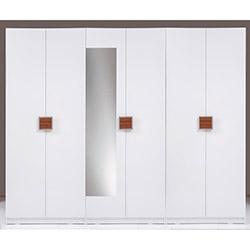 Kenyap Plus (814885) Stella Aynalı 6 Kapılı 3 Çekmeceli Sonsuz Gardırop - Beyaz / Ceviz