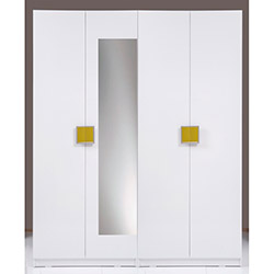 Kenyap Plus (814960) Stella Aynalı 4 Kapılı 3 Çekmeceli Sonsuz Gardırop - Beyaz / Yeşil