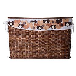 Kanca Ev Kalpli Kahverengi Hasır Çamaşır Sepeti - 65x40 cm