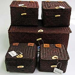 5'li Kahverengi Hasır Kutu Set