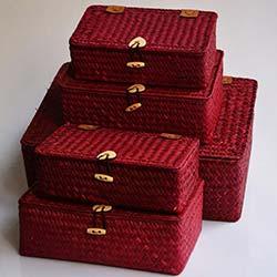 5'li Hasır Kutu Seti  - 658-5 Pembe