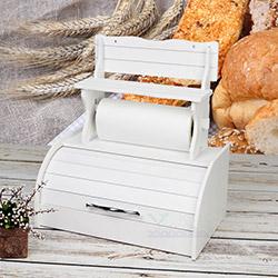 Kılıç 9590 Ahşap Kağıt Havluluk ve Ekmek Dolabı - Beyaz