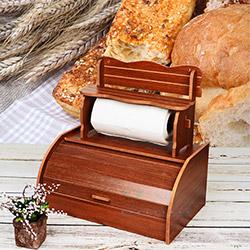 Kılıç 9591 Ahşap Kağıt Havluluk ve Ekmek Dolabı - Ceviz