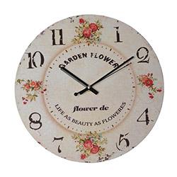 Ora Dekor Ahşap Çiçek Desen Duvar Saati