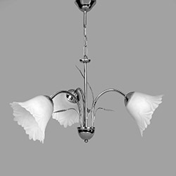 Safir Light Buket 3'lü Krom Avize - Beyaz