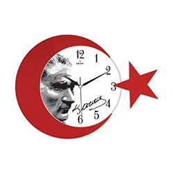 Galaxy Atatürk Portre Ay Yıldız Duvar Saati - 24x24 cm