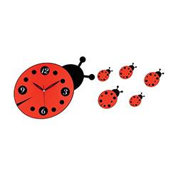 Galaxy Uğur Böceği Dekoratif Duvar Saati - Kırmızı/Siyah