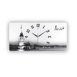 Galaxy Kız Kulesi Desenli Dikey Cam Duvar Saati - 35x50 cm