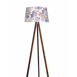 Ege Light 3 Ayaklı Lambader - Ceviz / Mavi Çiçek