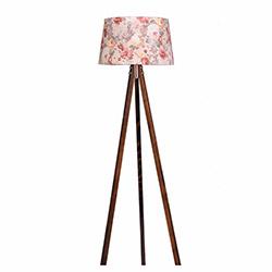 Ege Light 3 Ayaklı Lambader - Ceviz / Pembe Çiçek