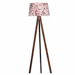 Ege Light 3 Ayaklı Lambader - Ceviz / Kahverengi Çiçek