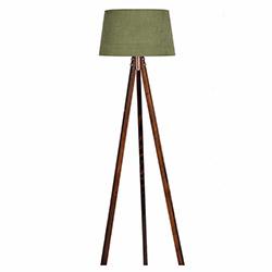 Ege Light 3 Ayaklı Lambader - Ceviz / Koyu Yeşil