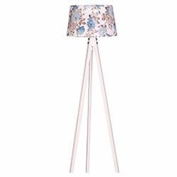 Ege Light 3 Ayaklı Lambader - Beyaz / Mavi Çiçek