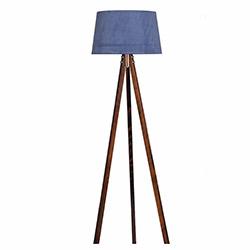 Ege Light 3 Ayaklı Lambader - Ceviz / Mavi