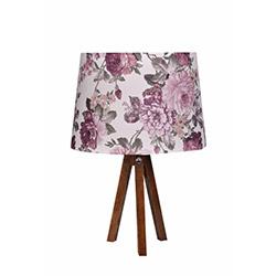 Ege Light 3 Ayaklı Masa Lambası - Ceviz / Mor Çiçek