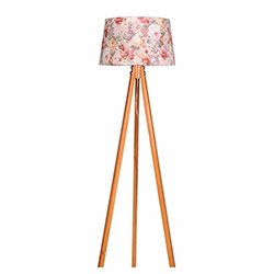 Ege Light 3 Ayaklı Lambader - Naturel / Pembe Çiçek
