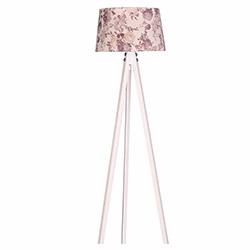 Ege Light 3 Ayaklı Lambader - Beyaz / Kahverengi Çiçek
