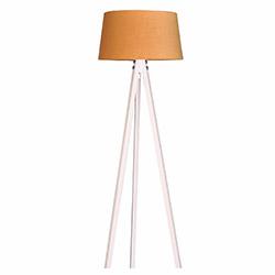 Ege Light 3 Ayaklı Lambader - Beyaz / Hardal