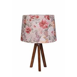 Ege Light 3 Ayaklı Masa Lambası - Ceviz / Pembe Çiçek