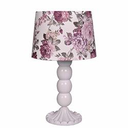 Ege Light Christine Masa Lambası - Beyaz / Mor Çiçek