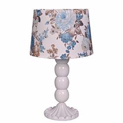 Ege Light Christine Masa Lambası - Beyaz / Mavi Çiçek