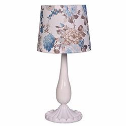 Ege Light Valentine Masa Lambası - Beyaz / Mavi Çiçek