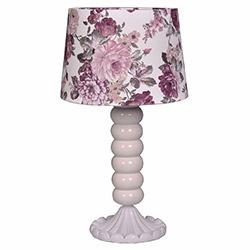 Ege Light Victoria Masa Lambası - Beyaz / Mor Çiçek