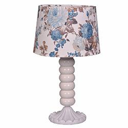 Ege Light Victoria Masa Lambası - Beyaz / Mavi Çiçek