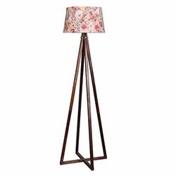 Ege Light 4 Ayaklı Lambader - Ceviz / Pembe Çiçek