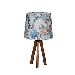 Ege Light 3 Ayaklı Masa Lambası - Ceviz / Mavi Çiçek