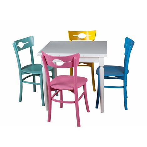 A2 Decor Color Masa Takımı - Beyaz / Renkli