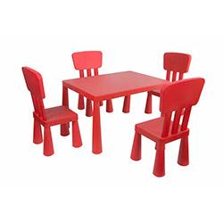 Modüler Mini Çocuk Masa Sandalye Seti - Kırmızı