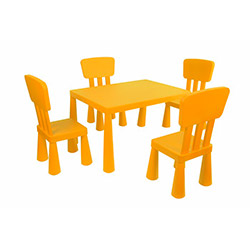 Modüler Mini Çocuk Masa Sandalye Seti - Turuncu