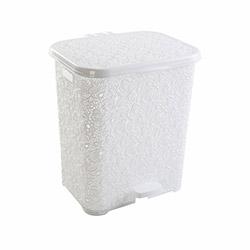 Modelüks Oya Desenli Pedallı Kirli Çamaşır Sepeti (Beyaz) - 48 Litre