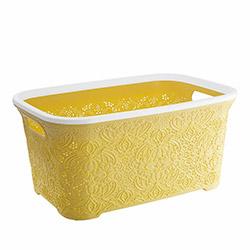 Modelüks Oya Desenli Temiz Çamaşır Sepeti (Sarı) - 35 Litre