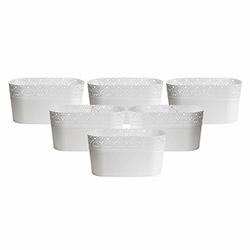 Asz Dantel Desenli Oval 6'lı Saksı - Beyaz