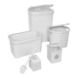 Modelüks Çok Amaçlı Hasır 5'li Banyo Seti - Beyaz