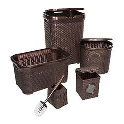 Modelüks Çok Amaçlı Hasır 5'li Banyo Seti - Kahverengi