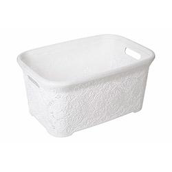 Modelüks Oya Desenli Temiz Çamaşır Sepeti (Beyaz) - 35 Litre