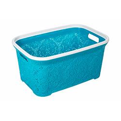Modelüks Oya Desenli Temiz Çamaşır Sepeti (Turkuaz) - 35 Litre