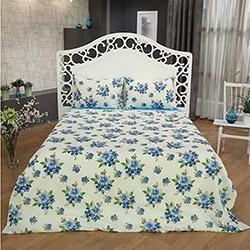 Mia Home Çiçekli Çift Kişilik Uyku Seti - Mavi
