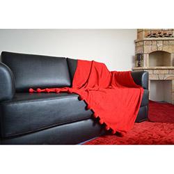 Giz Home Carmel Ponponlu Koltuk Örtüsü - Kırmızı