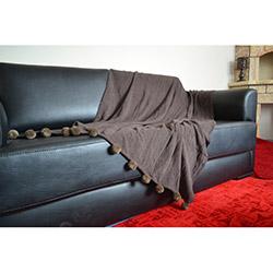 Giz Home Carmel Ponponlu Koltuk Örtüsü - Kahverengi